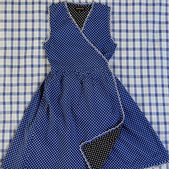 Blue Dots Reversible Wrap Dress