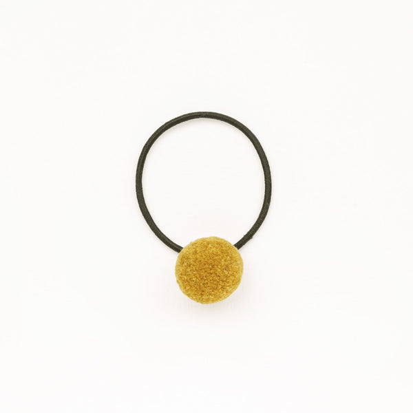 Hair tie with Handcrafted Pompon Golden