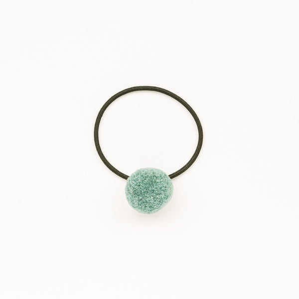 Hair tie with Handcrafted Pompon Teal
