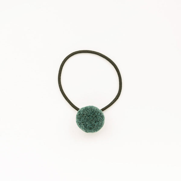 Hair tie with Handcrafted Pompon Green Blue