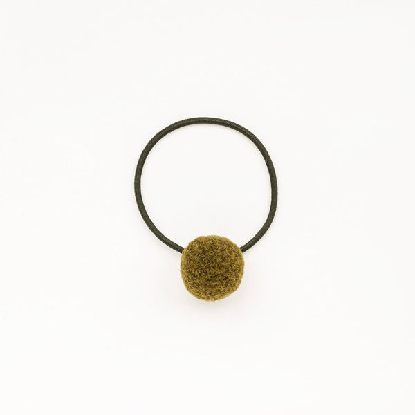Hair tie with Handcrafted Pompon Khaki