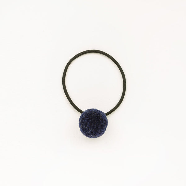 Hair tie with Handcrafted Pompon Purple Blue