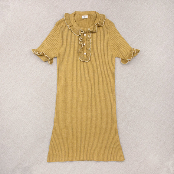 Mustard Cotton/Silk Knit Dress