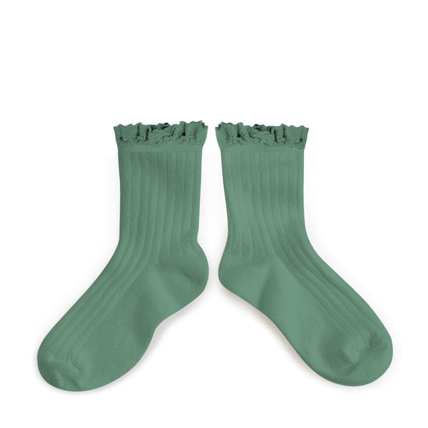 Lace Trim Ankle Socks Celadon