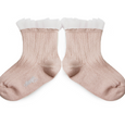 Tulle Trim Ankle Socks Faded Rose