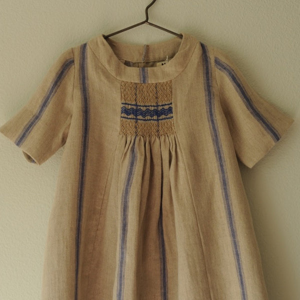 Rosemary Smocked Dress Mattress Blue stripes