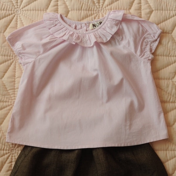 Pierrot Top Pale Pink stripes