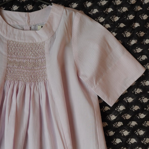 Rosemary Smocked Dress Pale Pink Stripes