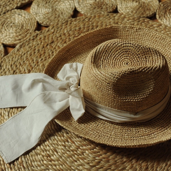 Woman Georgette Raffia Straw Hat