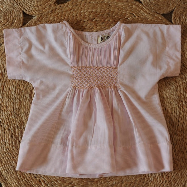 Vera Smocked Top Pale Pink stripes