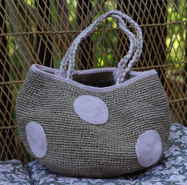 Madrague Raffia Basket Dots M