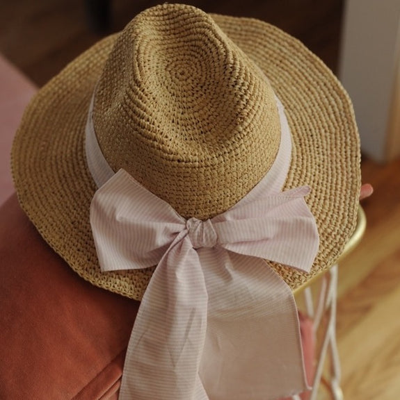 Girl Georgette Raffia Straw Hat Pink