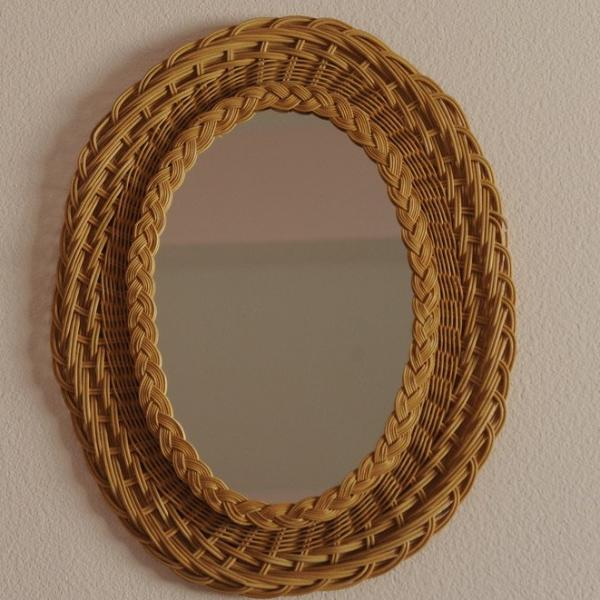 French Vintage Rattan Mirror