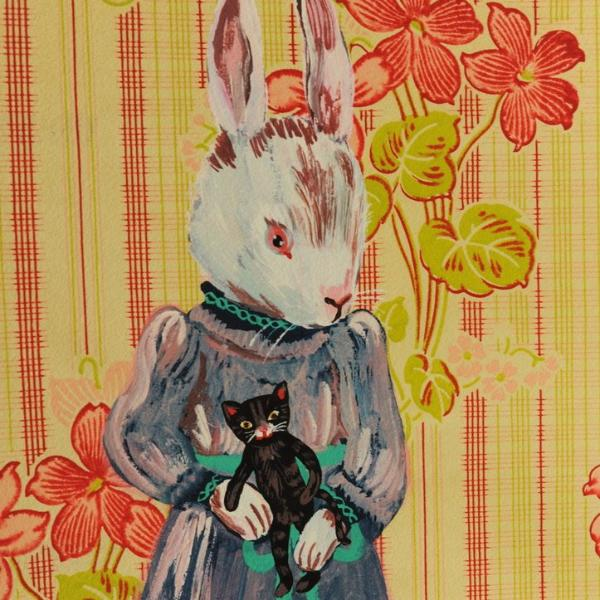 """Lady Rabbit With Cat Doll"" Digital Print"