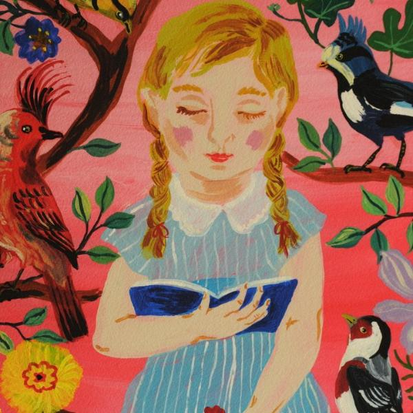 """Young Girl with Birds"" Digital Print"