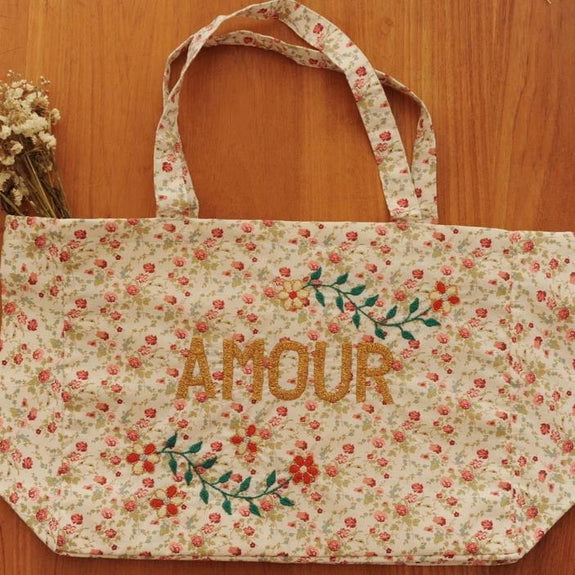 AMOUR Embroidered Large Handbag