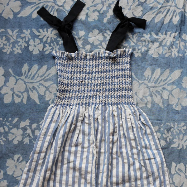 Blue Stripes Hand-smocked Sun Dress