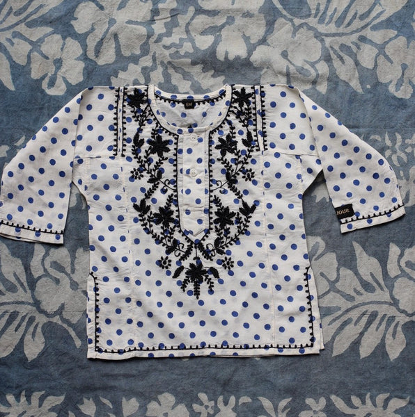 Blue Dots Embroidered Kurta Blouse