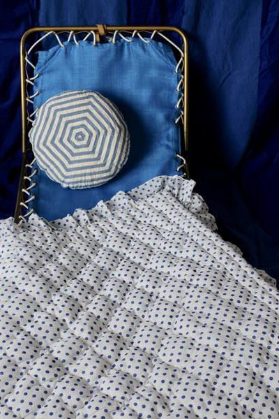 Blue Dots Quilted Blanket With Flounce