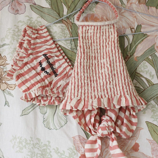 Red Stripes Smocked Neck Top