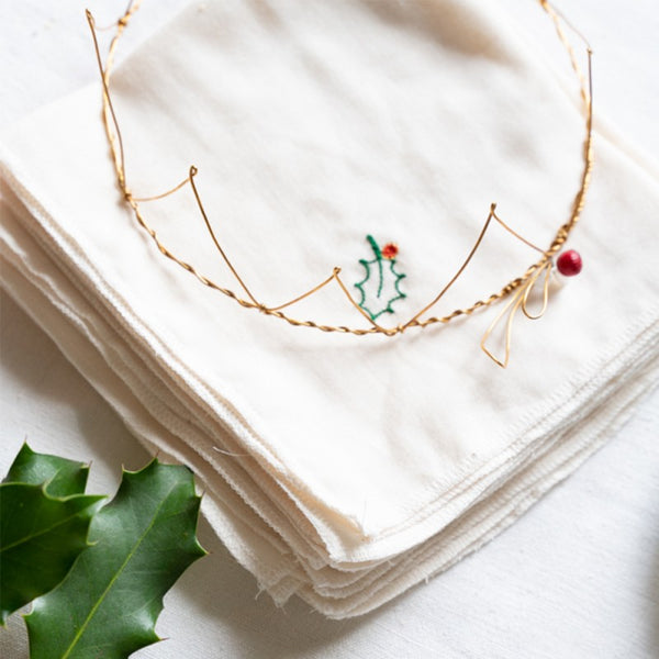 Holly Embroidered Handkerchief