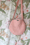 Red Stripes/Floral Reversible Quilted Round Bag
