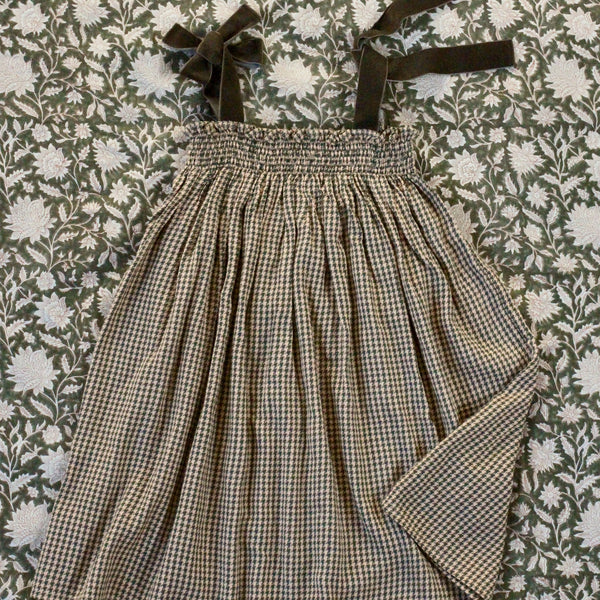 """Pied de Coq"" Check Long Skirt / Dress"