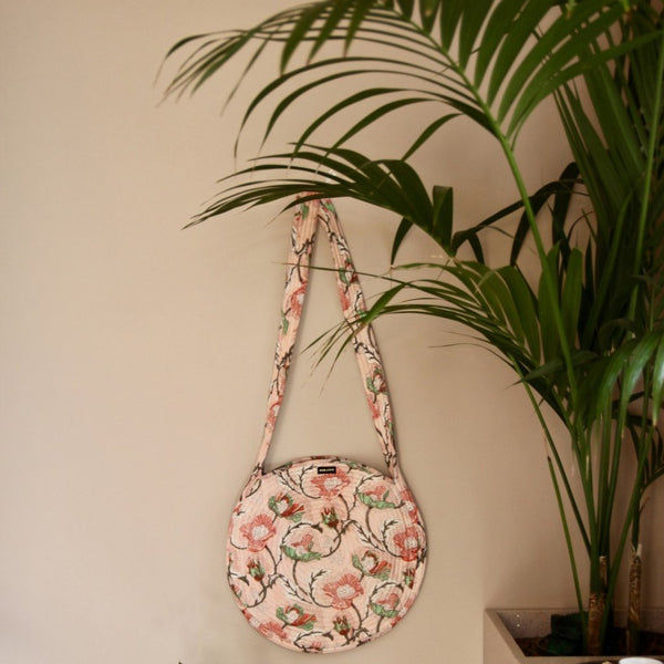 Indian Flowers Quilted Round Bag