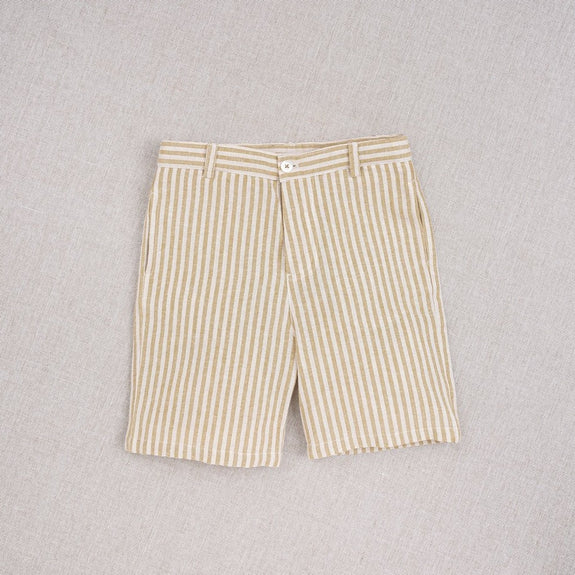 Boys Ochre Stripes Hand Woven Shorts