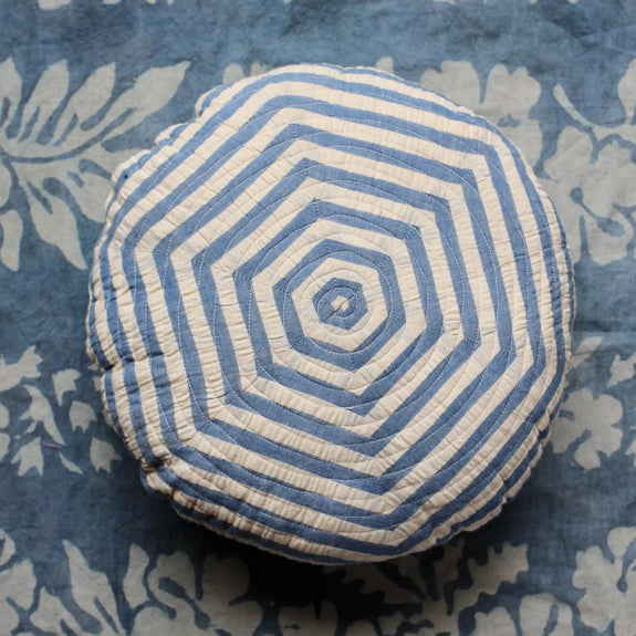 Blue Stripes Round Cushion