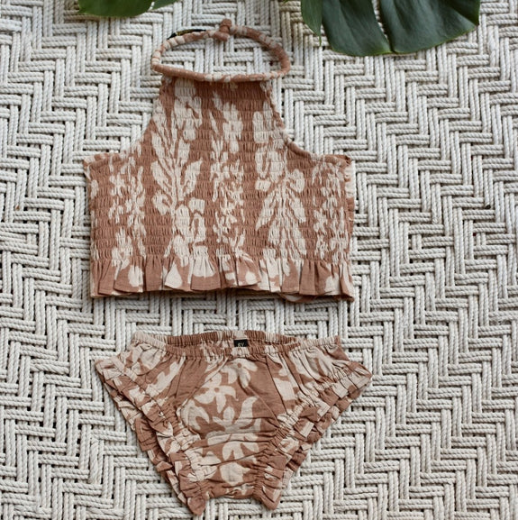 Caramel Tahiti Smocked Neck Top