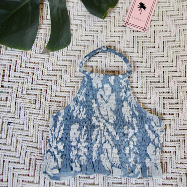 Blue Lagoon Tahiti Smocked Neck Top