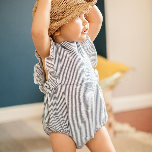 Lurex & Striped Romper