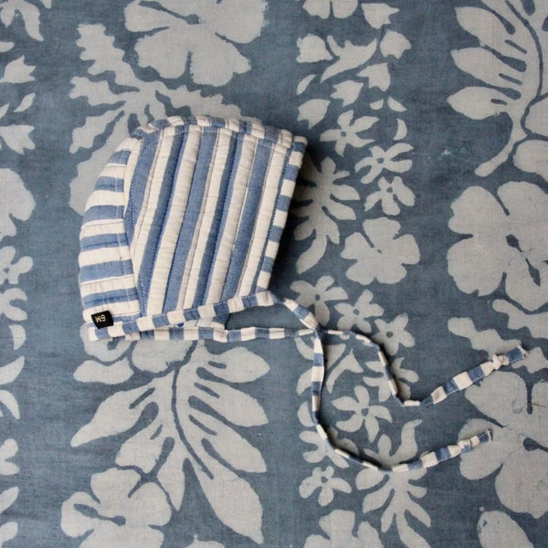 Blue Stripes/Dots Reversible Quilted Baby Cap