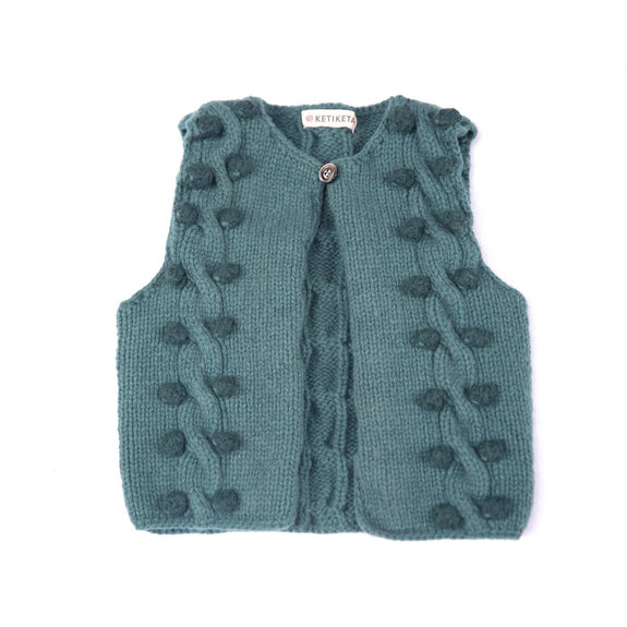 Pop hand-knitted vest Green