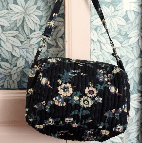 Black Flowers Hand Bag or Toiletry Bag