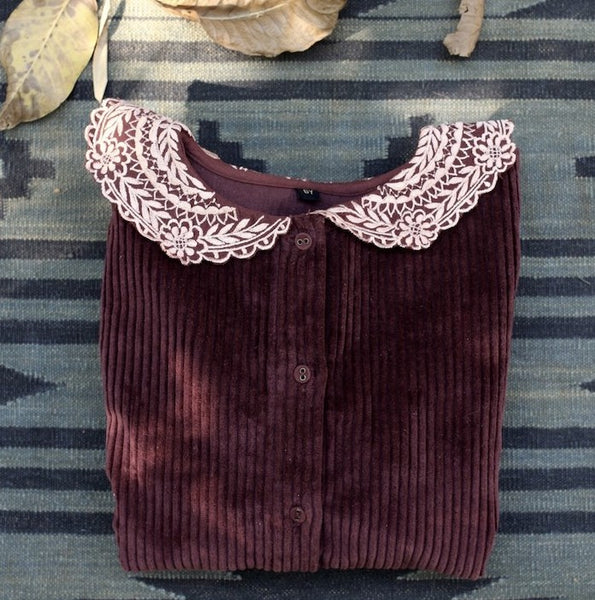 Brown Velvet Blouse