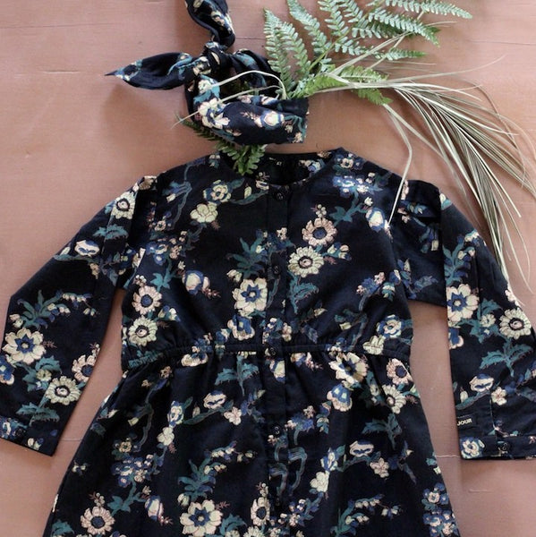 Black Flowers Shirt Dress With Scarf