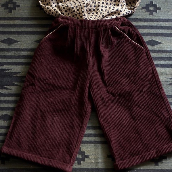 Brown Velvet Divided Skirt