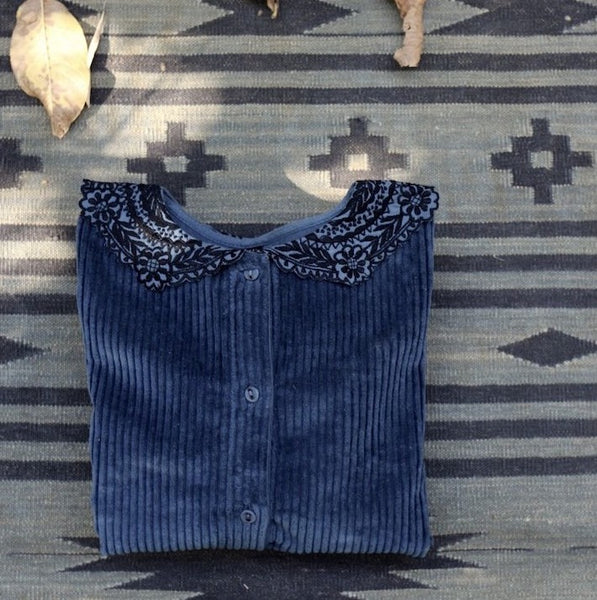 China Blue Velvet Blouse