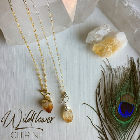 Wildflower- Raw Cut Citrine 5 in 1 Necklace
