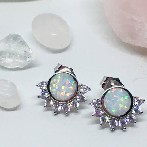 Sun Shining on Rain - Opal Sunburst Sterling Silver Earrings