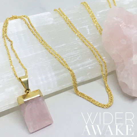Wider Awake - Rose Quartz Pillow Box Necklace