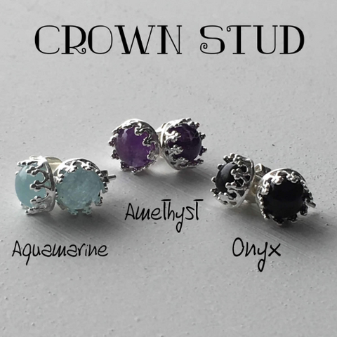 Crown Stud 8mm Sterling Silver Gemstone Earring
