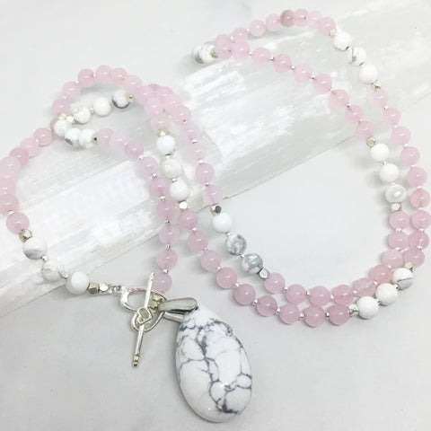 Howlite & Heart - Howlite and Rose Quartz Mini Mala