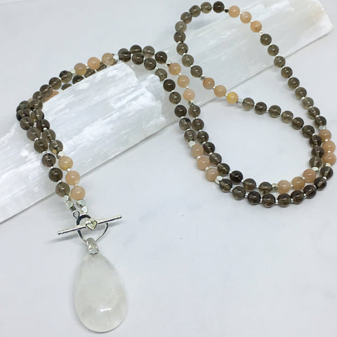 Sunshine & Stability - Smoky Quartz and Sunstone Mini Mala