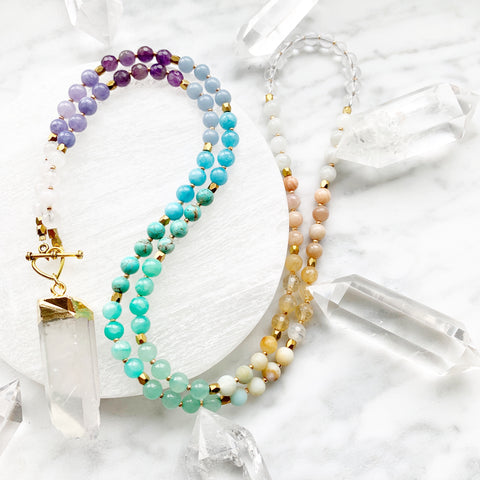 Pastel Rainbow Aura Quartz Mini Mala