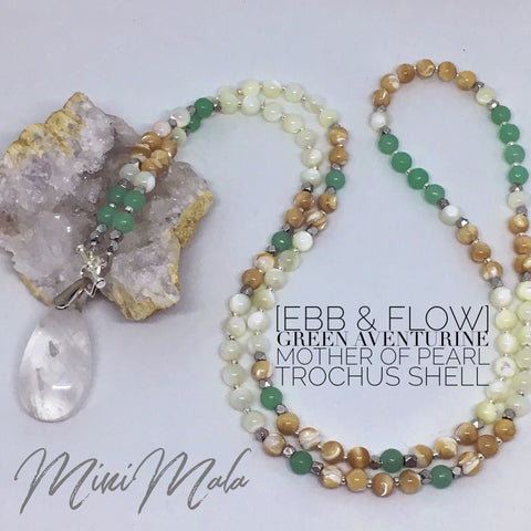 Ebb & Flow Mini Mala - Green Aventurine, Mother of Pearl, Trochus Shell, Crystal Quartz