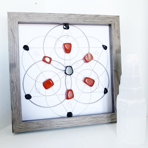 Safe & Ground - Tourmaline, Red Jasper and Hematite Crystal Grid