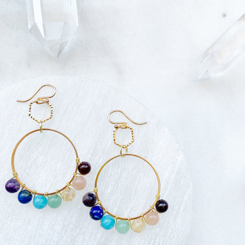 Boho Gemstone Hoop Earring